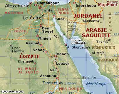 Carte de la Mer Rourge en Egypte