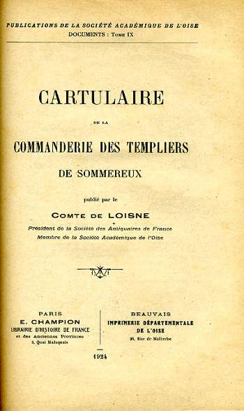 Cartulaire de la commanderie de Sommereux