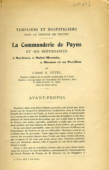 Commanderie de Payens dans le diocèse de Troyes