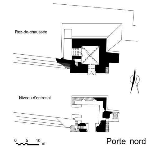 Césarée, plan de la porte nord