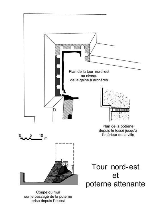 Césarée, plan de la tour nord-est