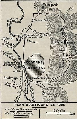 Plan des châteaux croisés devant Antioche