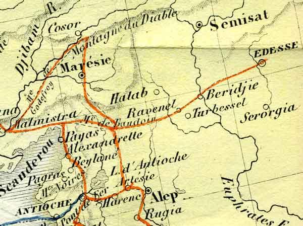 Carte des routes des Croisades