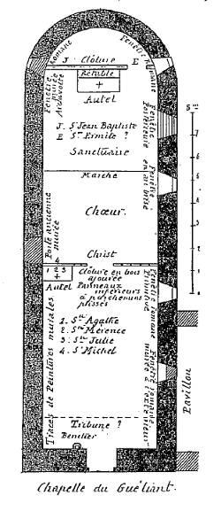 Guélian, plan de la chapelle
