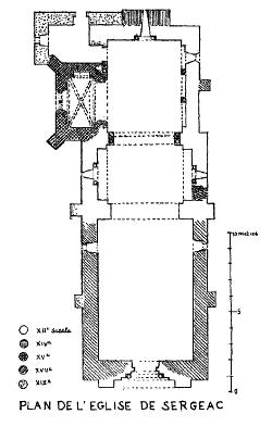 Plan de l'église de Sergeac