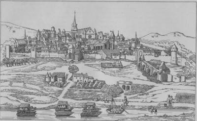 Vue de la ville d'Agen en 1668