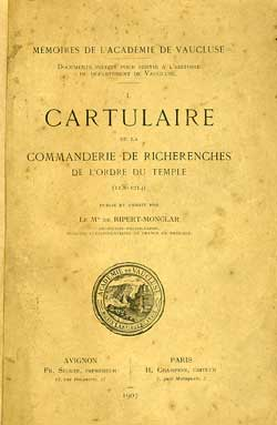 Cartulaire de la commanderie de Richerenches