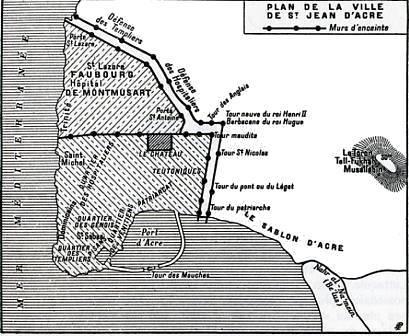 Plan de Saint-Jean d'Acre en 1291